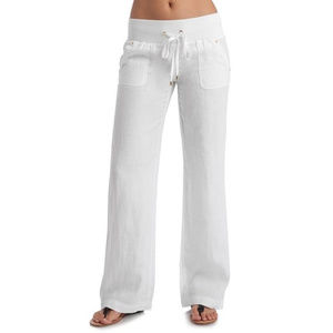 GUESS white linen drawstring casual pants M